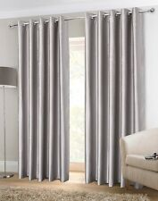 Sundour Luxury Faux Silk Fully Lined Eyelet Curtains Silver