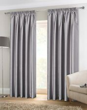Sundour Luxury Faux Silk Fully Lined Pencil Pleat Curtains Silver