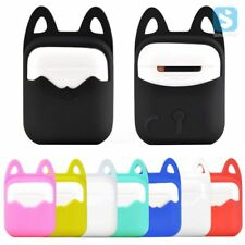 Kyrahh: Apple Airpods Case Silicon Pouch With Cat Ears Pattern + Key Ring Clasp