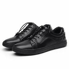 Hot Mens Black Fashion Sneakers Shoes Lace up Low Top Flats Comfort Casual Shoes