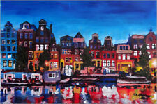 Reproduction sur toile Amsterdam Channel at Night - M. Bleichner