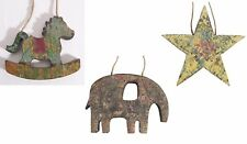 Ian Snow Antiqued Wooden Decoration Snow Star, Snow Elephant, Snow Horse
