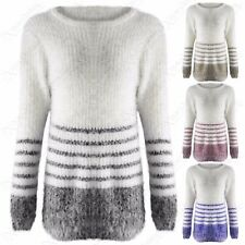 NEW LADIES FAUX MOHAIR KNIT STRIPE LONG JUMPER WOMENS FLUFFY WARM THICK LOOK TOP