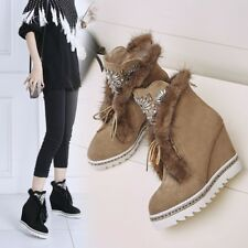Rhinestone Fur Lining Womens Suede Leather Wedge Heel Platform Ankle Boots Shoes