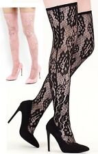 Ladies Black Pink Lace Over-The-Knee Sock High Stiletto Heel Boots Court Shoes