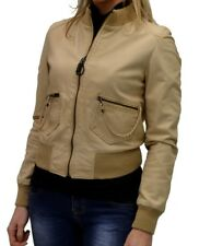 GIUBBINO VERA PELLE DONNA BEIGE WOMAN LEATHER JACKET ART 4511F