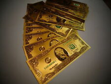 24 KARAT GOLD 2 DOLLAR USA NOTE-GREEN SEAL-EACH IN RIGID PVC BILL HOLDER MINT
