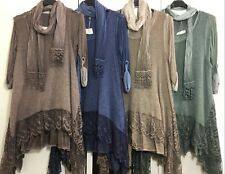 Italian Ladies Mohair Top Women Long Tunic Dress Lagenlook Layers Quirky Lace UK