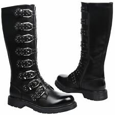 Toyah Womens Flat Low Heel Strappy Buckle Mid Calf Biker Boots Ladies Shoes Size