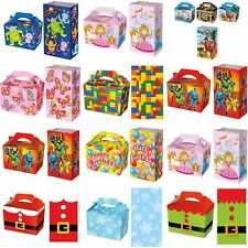 10 Party Boxes - Treat Food Box - 10 Designs - Plus 10 FREE Matching Paper Bags