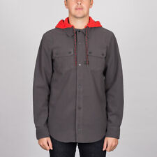 Volcom 'Field Bonded' Flannel Hooded Shirt. Vintage Black.