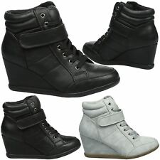 Patti Womens Mid Wedge Heels Lace Up Strap Ankle Boots Ladies Trainers Shoes New