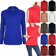 Womens Cold Shoulder Top Ladies Cowl Neck Cut Out Summer Long Sleeve T Shirt
