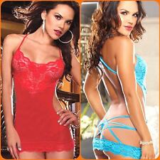 Lingerie Hut Sexy Lace Backless Nightwear Sheer Babydoll Sleepwear