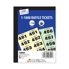 1-1000 Raffle Tickets Books Cloakroom Tickets Pad Security Coded Prize Numbered