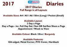 2017 Diary A4/A5/A6 Page A Day/Week to View/Gilt Edge/Metal Corner/Hardback/Appo