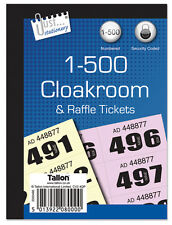 1-500 Raffle Tickets Books Cloakroom Tickets Pad Security Coded Prize Numbered