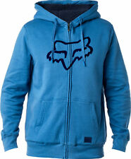 Fox Racing Mens Dusty Blue Tracked Sherpa Casual Zip-Up Hoody Hoodie Sweater