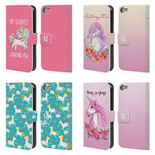HEAD CASE DESIGNS SASSY UNICORNS LEATHER BOOK CASE FOR APPLE iPOD TOUCH MP3