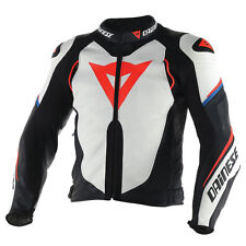 Dainese Super Speed D1 Bianco / Nero/Fluo Rosso Moto Giacca in Pelle