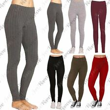 New Womens Chunky Cable Knitted Ribbed Skinny Plain Stretch Warm Thick Leggings