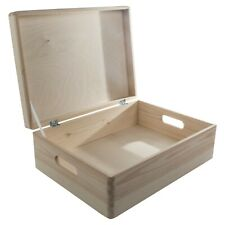 Large Wooden Storage Box With Lid And Handles/Pinewood Toy Chest Keepsake Trunk