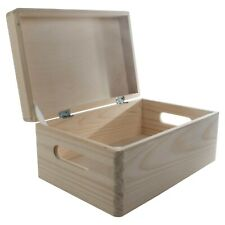 Wooden Storage Box With Lid And Handles / Pinewood Memory Keepsake Chest Trunk