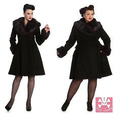 Hell Bunny Vintage Retro 50's Alternative Fashion Winter Rock Noir Faux Fur Coat