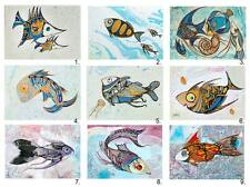 9 Different Fish ACEO LE Fish Art Prints of Original Painting by Xenia Hahonina