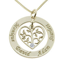 Silver Personalised Filigree Tree Of Life & Heart Pendant With Crystal Option