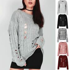 Ladies Womens Chunky Cable Knitted Oversized Baggy Distress Destroyed Rip Jumper