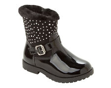 GIRLS BLACK PATENT STUDDED FAUX FUR TRIM LINED WINTER ANKLE BOOTS UK SIZE 7-12