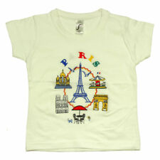 Souvenirs de France - T-Shirt Enfant Brodé Paris 'Carrousel' - Blanc