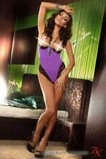 BN-6211 La Luna Purple Body Viola con Coppe Aperte con Inserti in Pizzo Nero