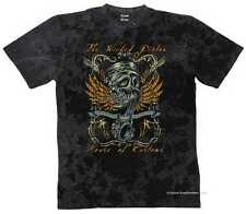 T-SHIRT BATIK BLACK VINTAGE HD bikerr&oldschoolmotiv modello THE WICKED PISTON