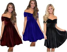 WOMENS LADIES Velvet Off The Shoulder Skater Bardot Party Dress Size 10 12 14 16