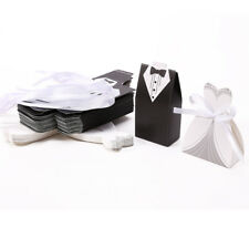 30-100 Pairs Wedding Favor Candy Box Bride Groom Dress Tuxedo Party Ribbon Gift