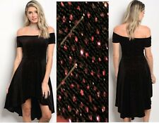 WOMENS LADIES Black Velvet Shimmer Off The Shoulder Skater Dress Size 10 12 14