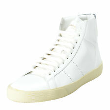 Saint Laurent Women's White Leather Hi Top Fashion Sneakers Shoes Sz 4 7 10.5 11