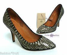 H&M Isabel Marant Suede Leather High Heel Silver Beaded Court Shoe Size EU 36 37