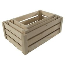 Set of 3 Plain Untreated Wooden Crates Slatted Fruit Apple Containers Boxes