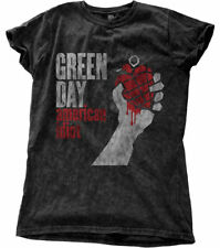 Green Day 'AMERICAN IDIOT VINTAGE' Womens Snow Wash T-Shirt - NUOVO E ORIGINALE