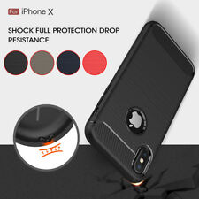 Hybrid Shockproof Carbon Fiber Brushed Soft Silicone TPU Case For iPhone X 10 8+