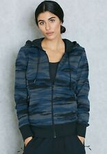 adidas Women's Essentials Blue Camo Full Zip Stretchable Hooded Jacket AY4876