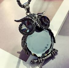Crystal Owl Rhinestone Necklace & Pendant Long Sweater Chain Jewelry Fashion UK