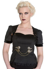 Top chemise noire lorena gothique à manches bouffantes, hell bunny Hell Bunny