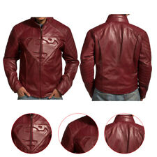 Maroon Superman Smallville Tom Welling Padded Embossed Emblem Leather Jacket
