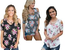 Ladies Cold Shoulder Floral Paisley Criss Cross V Neck Boho Top Plus Size 12-18