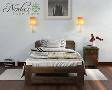 """*NODAX* Wooden Furniture Solid Pine Single 3ft Bed Frame """"ONE"""" Walnut Colour"""