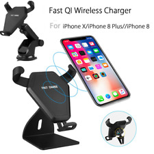 10W Qi Wireless Fast Charger Car Air Vent Holder For iPhone X 8 Samsung Note 8